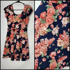 iris Navy Blue & Pink Floral Skater Dress